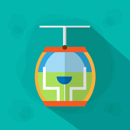 rope way: Cable Car Cabin Icon Flat Illustration