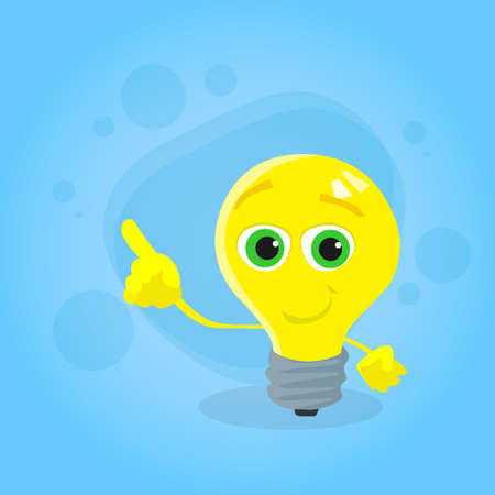 yellow bulb: Light Yellow Bulb Cartoon Character Point Finger Up Corner Copy Space Advertise Concept Idea Smile Face Flat Illustration Illustration