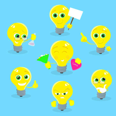 yellow bulb: Light Yellow Bulb Cartoon Character Collection Concept Idea Set Smile Face Flat Illustration Illustration