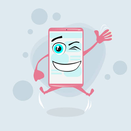pink cell: Smart Cell Phone Pink Cartoon Character Jump Hands Smile Flat Illustration Illustration