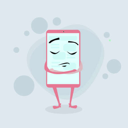 folded hands: Smart Cell Phone Pink Cartoon Character Closed Eyes Negative Emotion Folded Hands Flat Illustration