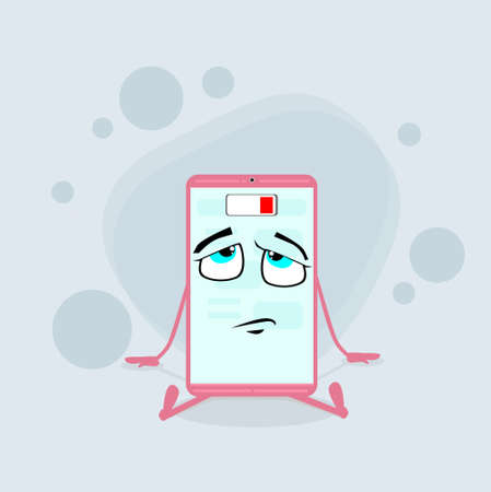 energy needs: Smart Cell Phone Pink Cartoon Character Low Battery Charge Flat Illustration Illustration