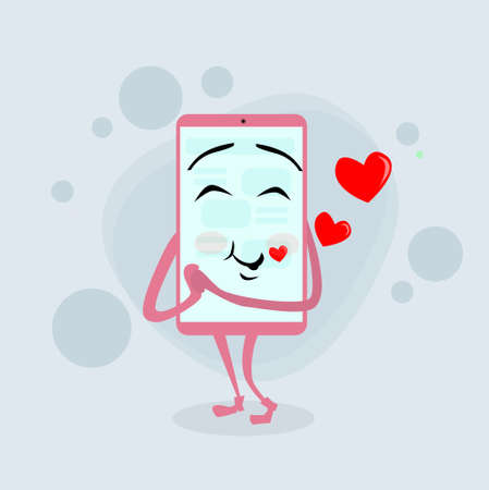 pink cell: Smart Cell Phone Pink Cartoon Character Love Red Heart Shape Smile Flat Illustration