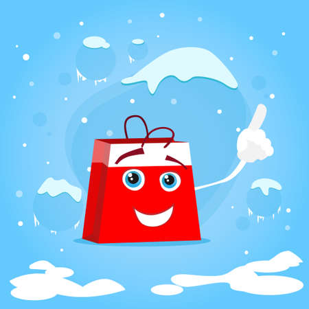 bag cartoon: Red Shopping Bag Cartoon Character Show Point Finger Up Gesture Present Empty Copy Space Christmas Sale Concept Show Flat Illustration Illustration