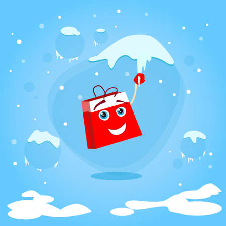 icicle: Red Shopping Bag Cartoon Character Hang on Icicle Christmas Sale Concept Show Flat Illustration