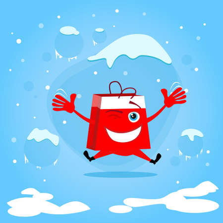bag cartoon: Red Shopping Bag Cartoon Character Jump Hold Hands Up Excited Happy Smile Christmas Sale Concept Show Flat Illustration Illustration
