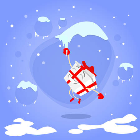 icicle: Gift Box Christmas Present Cartoon Character Hang on Icicle Red Bow Concept Blue Snow Background Flat Illustration