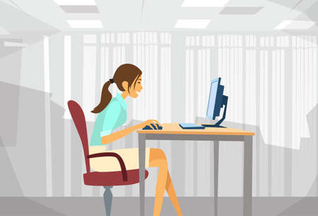 Business Woman Sitting Desk Working Laptop Businesswoman Typing Busy Computer Illustration