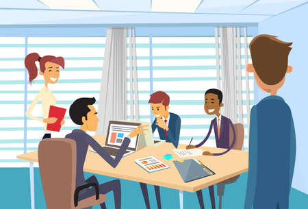 discussion meeting: Business People Meeting Discussing Office Desk Business people Working Illustration