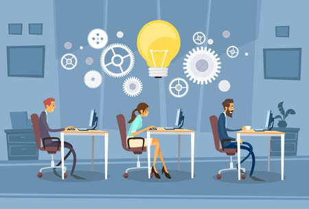 mensen groep: Business people Group Working Creative Team Business People Sitting Office Desk Concept Illustration