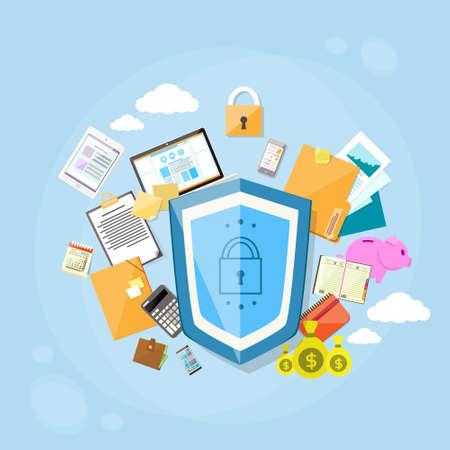 caja fuerte: Escudo de seguridad de protección de datos Concepto de Privacidad de Información de Computadoras Internet Security plana Ilustración de la bandera