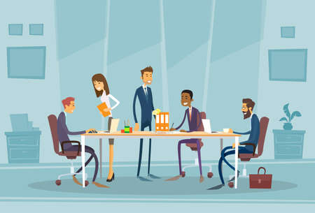 work office: Business People Meeting Discussing Office Desk Business people Working Flat Illustration
