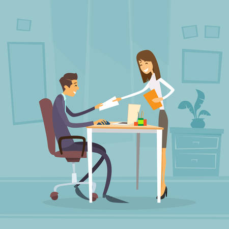 female boss: Businessman Sitting Office Desk Businesswoman Give Paper Concept of Secretary Apply Job Interview Business People Candidate Flat Illustration
