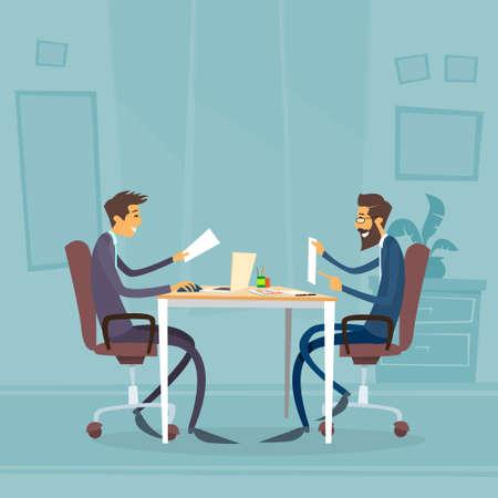 diverse group: Business People Diverse Ethnic Group Sitting at Office Desk Flat Illustration Illustration