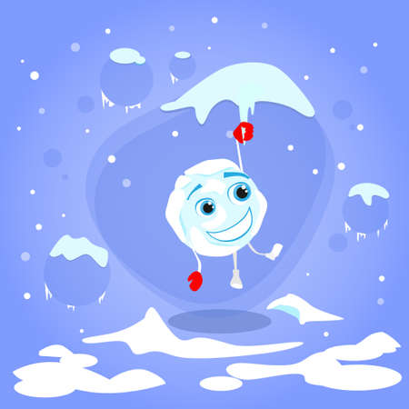 snowball: Snowball Hang on Icicle Red Gloves Cartoon Funny Character Winter Ball Snow Smile Face Concept Flat Illustration Illustration