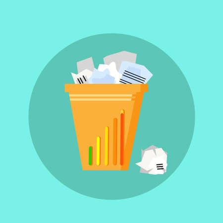 cesto basura: Papelera Papelera de reciclaje de basura Ilustración plana