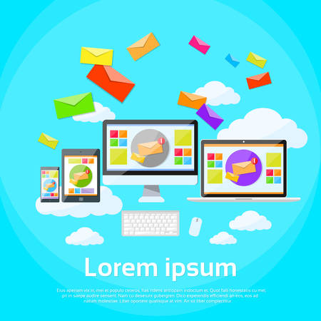 laptop screen: Responsive Design Digital Marketing Email Laptop Phone Tablet Desktop Device Screen Size Envelope Send Business Mail Flat Vector Illustration