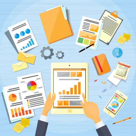 notebook computer: Tablet Finance Chart Business Man Hand Touch Screen Finger, Businessman Documents Office Desk Businessman Flat Vector Illustration