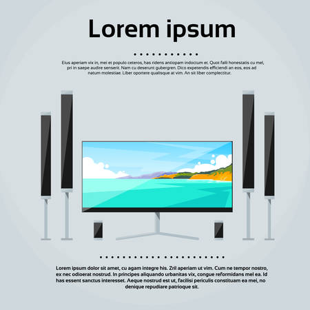 flat screen tv: Screen Tv Home Digital Cinema Audio Speaker Set Flat Vector Illustration Illustration