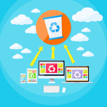 synchronize: Recycle Bin Trash Bucket Laptop Phone and Tablet Cloud Synchronize Flat Vector Illustration