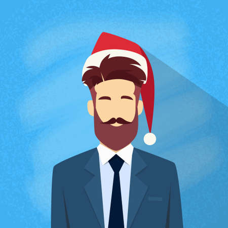 year profile: Profile Icon Businessman Male New Year Christmas Holiday Red Santa Hat Avatar Portrait Business Man Person Hipster Beard Face Flat Vector Illustration