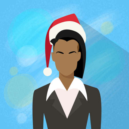 mixed race girl: Businesswoman African American Profile New Year Christmas Holiday Red Santa Hat Avatar Female Portrait Flat Vector Illustration