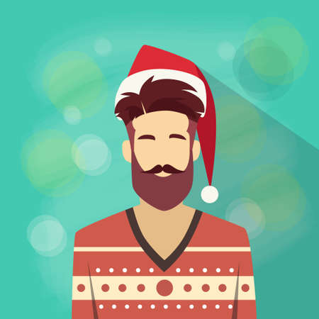 red beard: Profile Icon Male New Year Christmas Holiday Red Santa Hat Avatar Portrait Casual Person Hipster Style Fashion Cartoon Guy Beard Silhouette Face Flat Design Vector Illustration Illustration