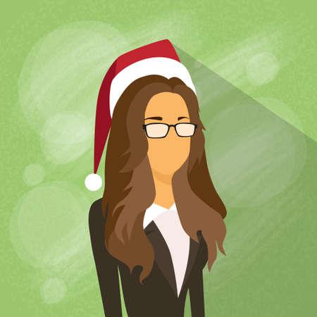 year profile: Businesswoman Profile New Year Christmas Holiday Red Santa Hat Avatar Female Portrait Flat Vector Illustration Illustration