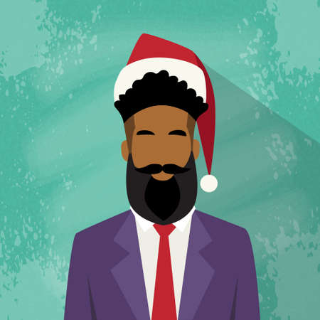 red beard: Profile Icon Businessman African American Race Male New Year Christmas Holiday Red Santa Hat Avatar Portrait Business Man Person Hipster Beard Face Flat Vector Illustration