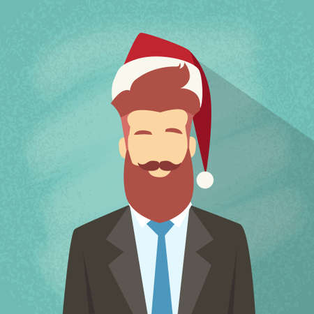 red beard: Profile Icon Businessman Male New Year Christmas Holiday Red Santa Hat Avatar Portrait Business Man Person Hipster Beard Face Flat Vector Illustration