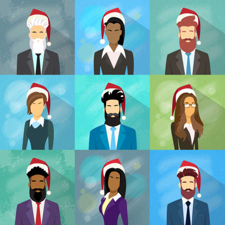 year profile: Profile Avatar Set Icon Businesspeople New Year Christmas Holiday Red Santa Hat  Portrait Business People Collection Face Flat Vector Illustration