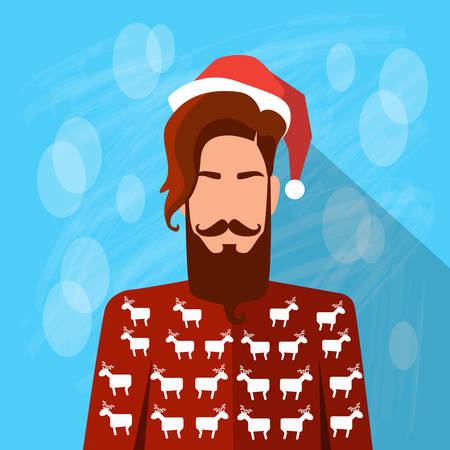 year profile: Profile Icon Male New Year Christmas Holiday Red Santa Hat Avatar Portrait Casual Person Hipster Style Fashion Cartoon Guy Beard Silhouette Face Flat Design Vector Illustration Illustration
