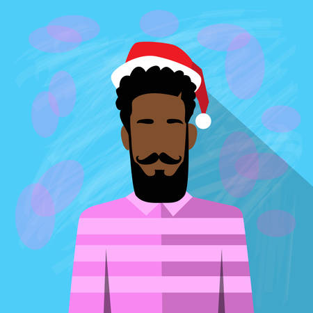 year profile: Profile Icon African American Ethnic Male New Year Christmas Holiday Red Santa Hat Avatar Portrait Casual Person Hipster Style Fashion Cartoon Guy Beard Silhouette Face Flat Vector Illustration Illustration