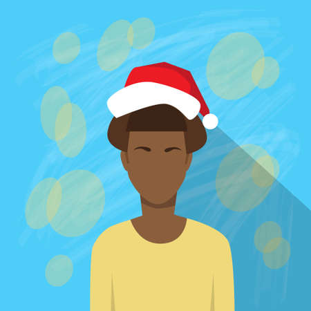year profile: Profile Icon African American Female New Year Christmas Holiday Red Santa Hat Avatar Portrait Casual Person Face Flat Design Vector Illustration