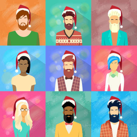 year profile: Profile Icon People Collection New Year Christmas Holiday Set Red Santa Hat Avatar Portrait Casual Person Hipster Style Fashion Male Female Face Flat Vector Illustration Illustration