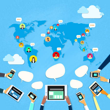 using phone: Social Media Communication World Map Concept Internet Network Connection People Flat Vector Illustration