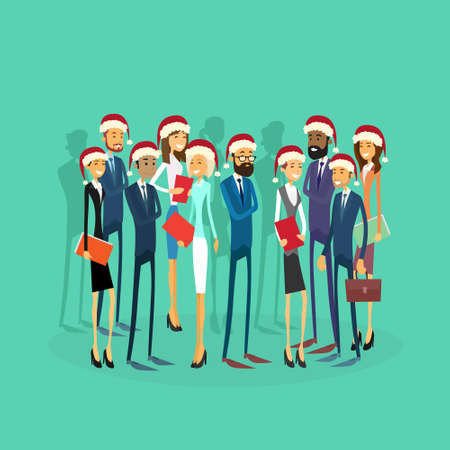 happy people: Businesspeople Wear Santa Hat Merry Christmas And Happy New Year Office Business People Team Flat Concept Vector Illustration Illustration