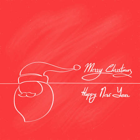 happy new year banner: Red Santa Claus Hat Merry Christmas Happy New Year Banner Card Cover Outline Design Flat Vector Illustration