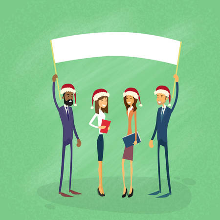 show white: Businessmen Christmas Santa Hat Show White Board, Signboard, Empty Copy Space, Business People New Year Holiday Hold Placard Sign Flat Vector Illustration Illustration