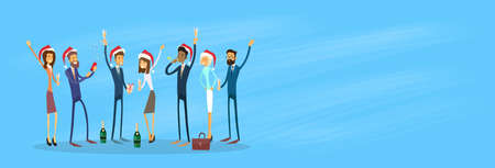 happy new year banner: Businesspeople Celebrate Merry Christmas And Happy New Year Business People Santa Hat Copy Space Banner Flat Vector Illustration