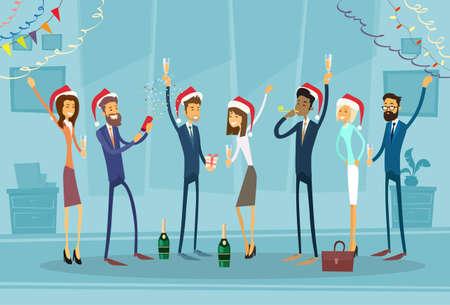 Vier ondernemers Vrolijke Kerstmis en Gelukkig Nieuwjaar Office Business Mensen Team Santa Hat Flat Vector Illustration Stock Illustratie
