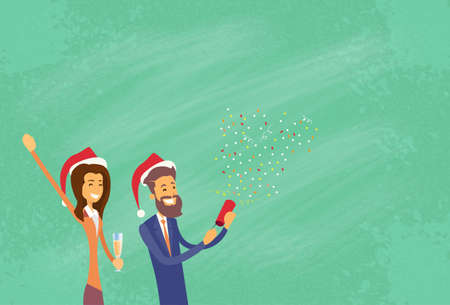 Businesspeople Celebrate Merry Christmas And Happy New Year Business People Santa Hat Copy Space Banner Flat Vector Illustration