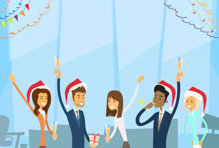 holiday party: Businesspeople Celebrate Merry Christmas And Happy New Year Office Business People Team Santa Hat Flat Vector Illustration