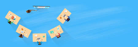 reunion de trabajo: Gente de negocios de Entreno Sobre La Opinión Sentado Grupo turística Empresarios Ilustración Presentación Equipo Reunión plana Banner Espacio vectorial