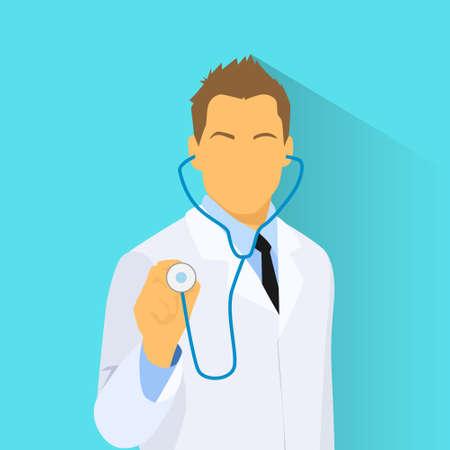 male portrait: Medical Doctor with Stethoscope Profile Icon Male Portrait Flat Design Vector Illustration Illustration