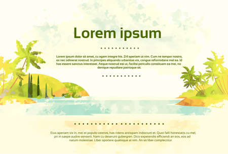 seaside resort: Vintage Tropical Ocean Beach with Palm Tree Retro Style Design Card Copy Space Vector Illustration
