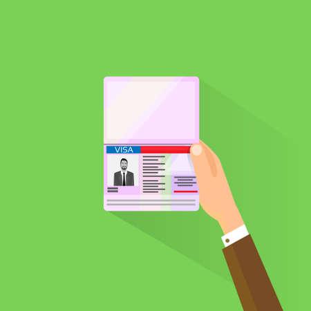 gente aeropuerto: Visa sello en el pasaporte del icono plano del hombre de negocios asimiento de la mano de viaje aprobada Ilustración vectorial de documentos Vectores