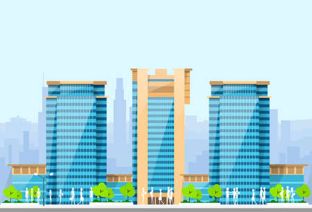 skylines: City Skylines Blue Illustration Architecture Modern Building Cityscape Vector Illustration