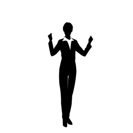 Business Woman Silhouette Excited Hold Hands Up Raised Arms, Businesswoman Full Length Concept Winner Success Vector Illustration