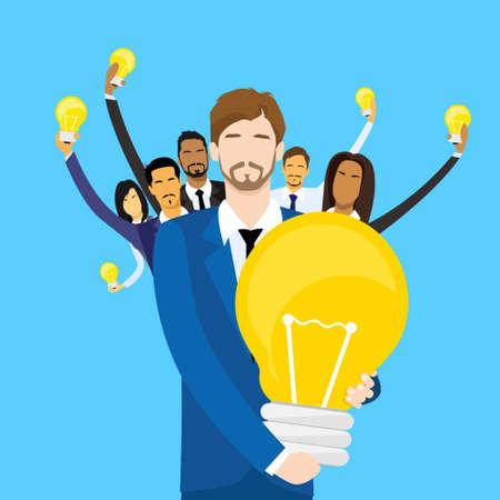 congratulating: Business Man Get Prize Winner Cup, People Congratulating Colleague, Businesspeople Group Team Leader Success Flat Vector Illustration